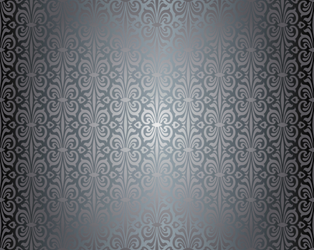 Silver shiny vintage wallpaper pattern background