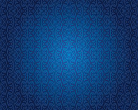 インディゴ ブルーのビンテージ壁紙背景反復的なパターン デザイン  イラスト・ベクター素材