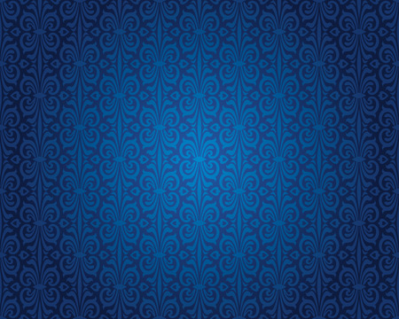Indigo blue vintage wallpaper background repetitive pattern design