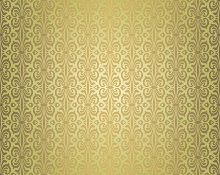 Green brown vintage wallpaper repetitive background design pattern