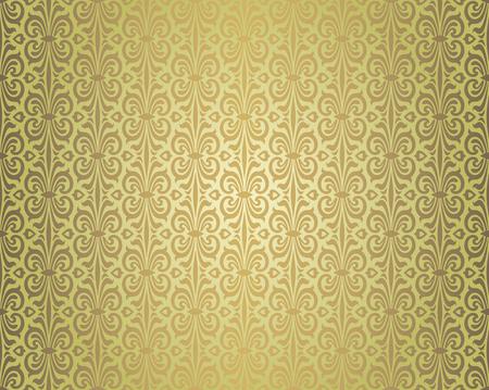 Groen bruine vintage behang repetitief achtergrondontwerppatroon