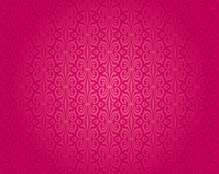Retro red vintage wallpaper pattern seamless background design