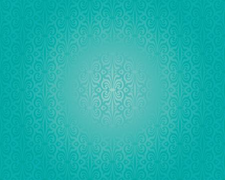 azul turqueza: El diseño retro verde de vacaciones azul decorativo fondo de la vendimia