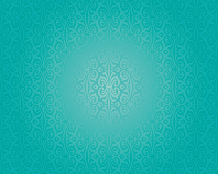 swirl background: Retro green blue holiday decorative vintage background design Illustration