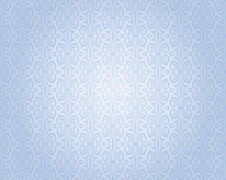 blue silver vintage wallpaper background repetitive pattern design Illustration