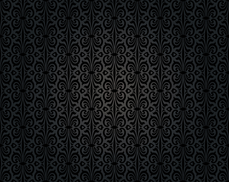 black vintage wallpaper background repetitive pattern design Illustration