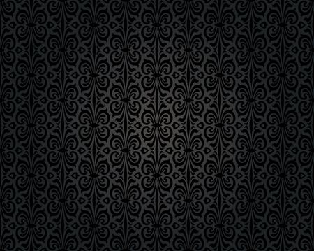 repetitive: black vintage wallpaper background repetitive pattern design Illustration