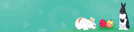 Easter template Web banner Header template with Easter rabbits, colorful Easter eggs and blank space for text