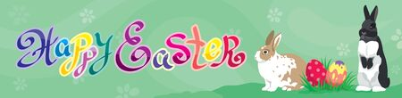 Easter holiday Web banner Header template with Easter rabbits, colorful Easter eggs and  calligraphic handwritten text Illustration