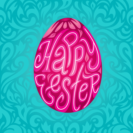 colored egg: Happy Easter greeting card background with calligraphic typography text in colored egg