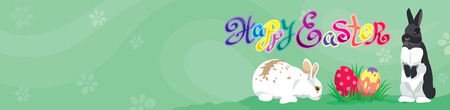 blank space: Easter template Web banner Header with Happy Easter text, Easter rabbits, colorful Easter eggs and  copy blank space