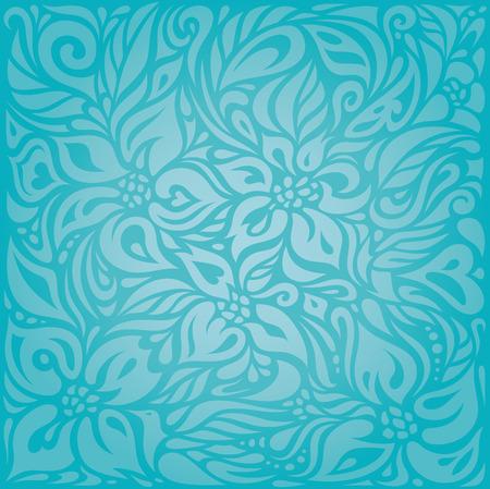 Turquoise  floral holiday vector vintage background design Illustration
