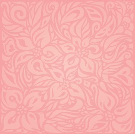 ピンク花のベクトルの壁紙デザインの背景  イラスト・ベクター素材