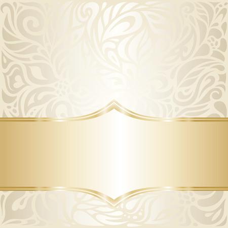 ecru: Floral wedding invitation wallpaper design in ecru & gold, with blank space