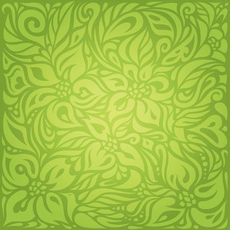 グリーン花柄レトロ ビンテージ壁紙ベクター デザイン backround