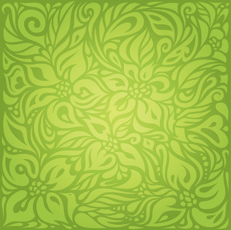 Groene Bloemen Retro Vintage Wallpaper Vector Design Backround Stockfoto - 71969800