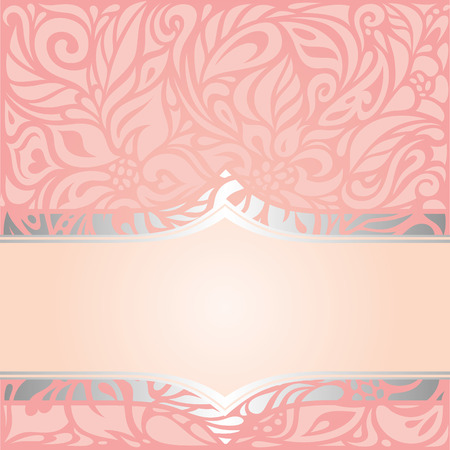Pink & silver retro decorative invitation vintage vector wallpaper design