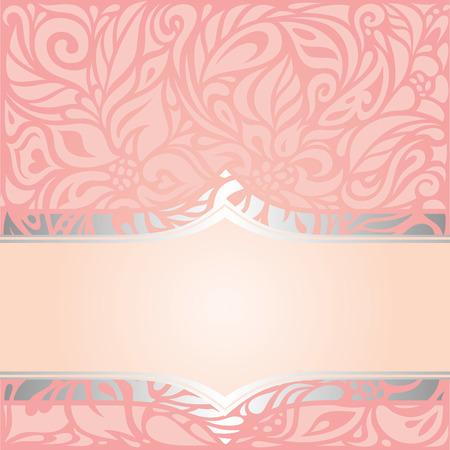 Pink & silver retro decorative invitation vintage vector wallpaper design