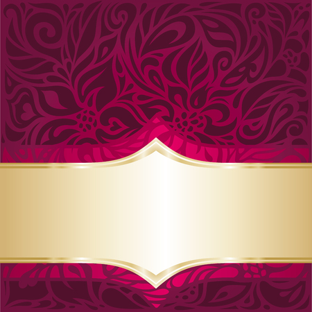 Floral Royal red and gold  luxury vintage invitation design