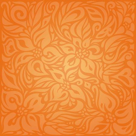 Floral Orange Retro-Stil bunte Tapeten Hintergrund Design