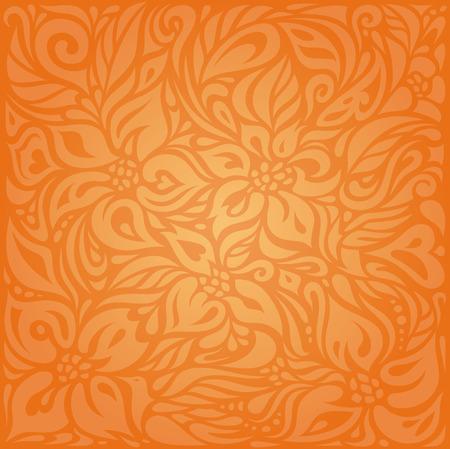 Floral Orange Retro style colorful wallpaper background design