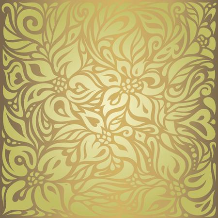 Green & brown floral vintage vector wallpaper design