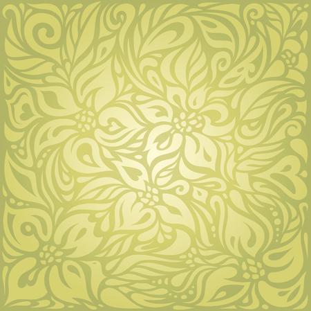 Green floral vintage wallpaper vector background design