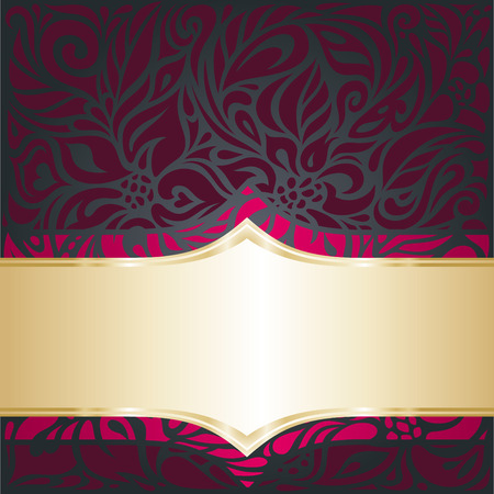 Red and gold  Royal Dark luxury vintage invitation template