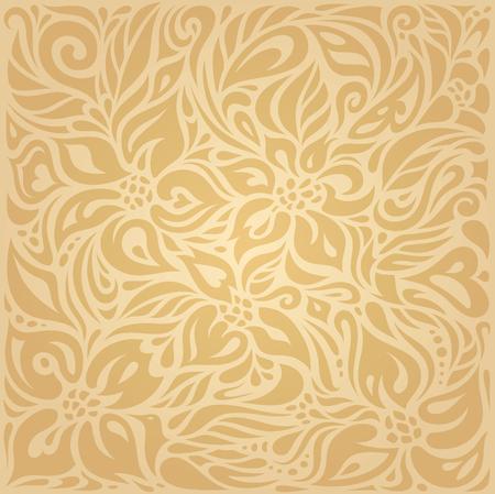 Floral Ocher ecru brown vector pattern wallpaper design Illustration