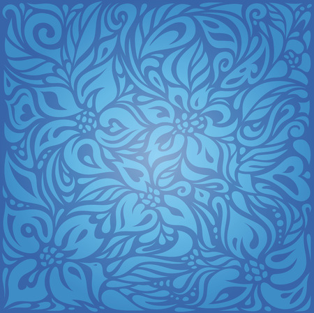 decorative wallpaper: Blue vintage wallpaper background design with decorative flowers Illustration