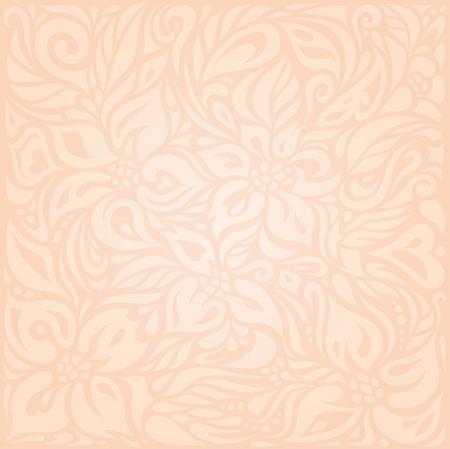 Retro floral Pale ecru decorative vector pattern wallpaper design