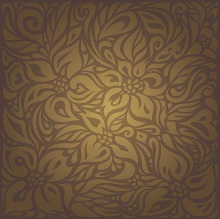Brown vintage floral vector background wallpaper design