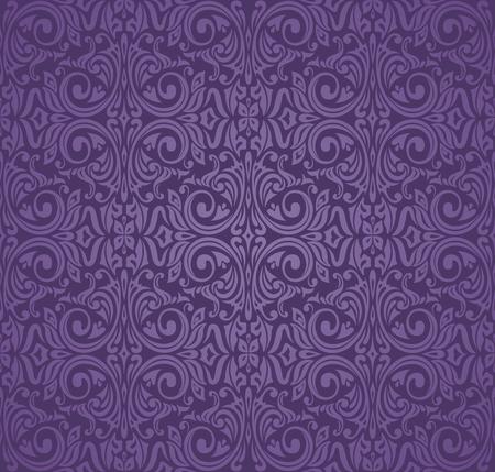 Violet purple Floral  vintage seamless pattern background design Illustration
