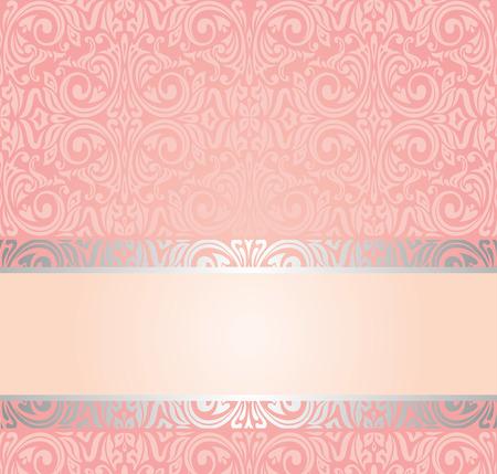 Pink & silver gentle invitation vintage wallpaper design background
