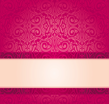 Red vintage wallpaper invitation design with copy space