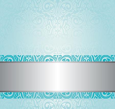 turquoise floral vintage invitation background design royalty free