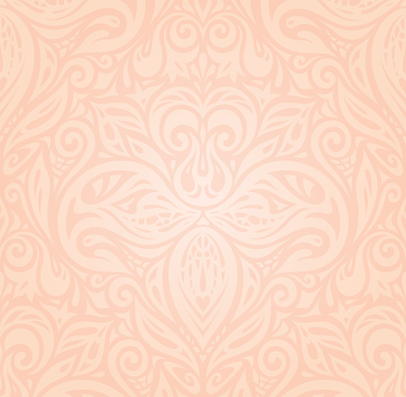 Retro floral Pale ecru decorative vector pattern wallpaper design  in trendy fashion vintage style