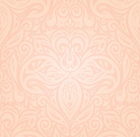 Retro floral Pale ecru decorative vector pattern wallpaper design  in trendy fashion vintage style