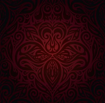 Dark red brown floral wallpaper vector design background vintage curly floral