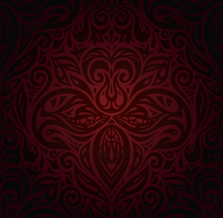 Dark red brown floral wallpaper vector design background vintage curly floral