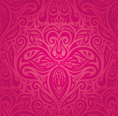 Red floral vector pattern wallpaper design trendy fashion background