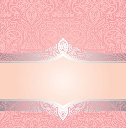 Pink & silver retro decorative invitation trendy vector wallpaper design in vintage style 向量圖像