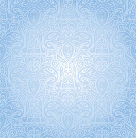 Blue floral vector seamless decorative background wallpaper design
