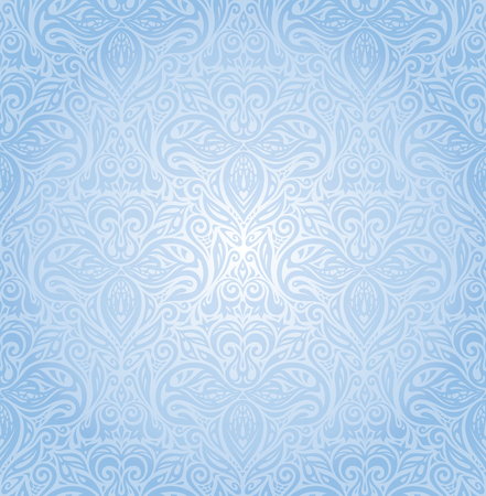 Blue floral vector seamless decorative background wallpaper design
