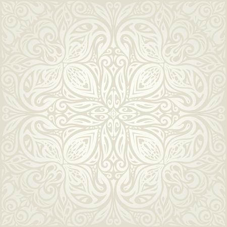 Wedding Floral decorative vintage Background Ecru Bege pale wallpaper pattern design mandala Ilustração