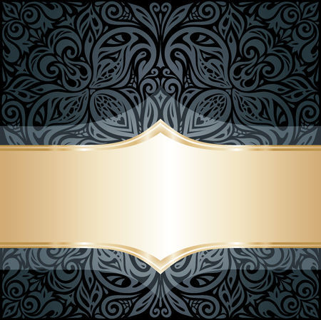 Decorative black & gold floral luxury wallpaper background design