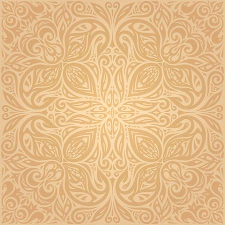 Floral Ocher ecru brown vector pattern wallpaper mandala design