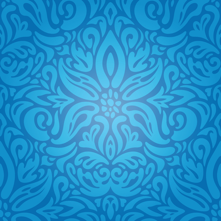 King Blue Floral Vintage wallpaper background design with curvy decorative flowers Ilustração