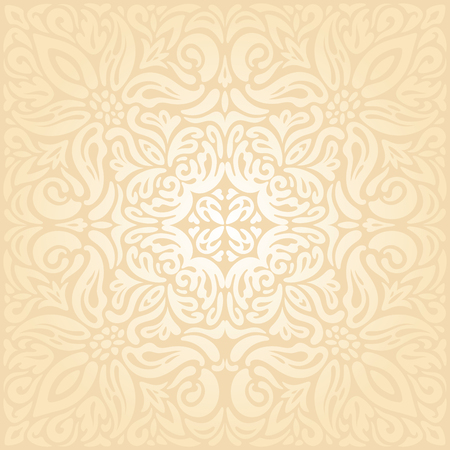 Bridal Retro wedding pale peach ecru invitation mandala background design in vintage style