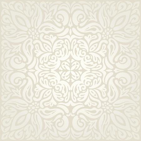Wedding Floral decorative vintage Background Ecru Bege pale wallpaper pattern fashion decorative mandala design